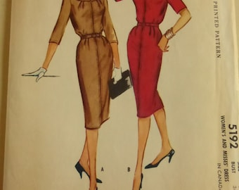 Vintage McCall's Pattern 5192 Misses Dress Size 14  Factory Fold