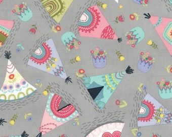 Timeless Treasures,  Teepees on Gray cotton fabric,  1 yard