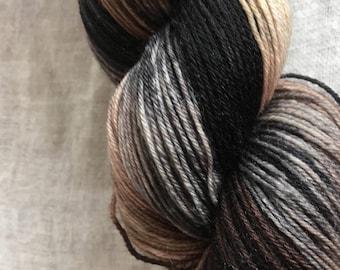 Black, Brown, Caramel Hand Dyed 4ply Sock Wool/Nylon Yarn 400 Mtrs  100gms