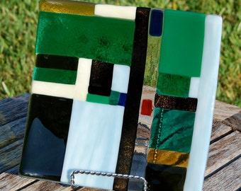 Fused Glass Plate OOAK  Wedding Gift Modern Geometric