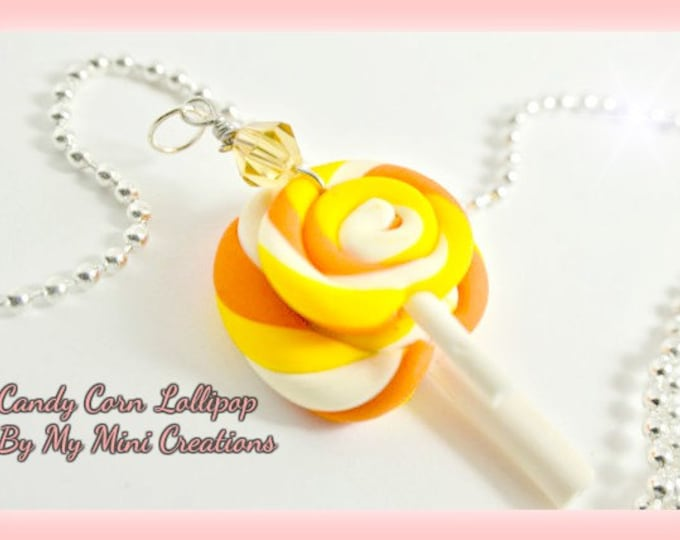 Candy Corn Lollipop Necklace , Miniature Food, Food Jewelry, Miniature Food Jewelry