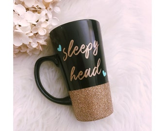 Sleepy Head Glitter Ceramic Glitter Coffee Cup // Glitter Cup // Coffee Mug // Glitter Mug // Coffee Drinker// Birthday Gift // Coffee Lover