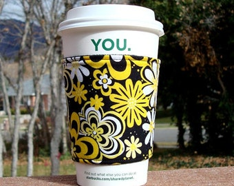 FREE SHIPPING UPGRADE with minimum -  Fabric coffee cozy / cup holder / coffee sleeve  -- Sunshine Flowers