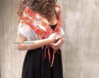 Orange luxury fashion pure nuno felt silk scarf, boho style, Bohemian clothing, Gift for women, bridesmaid gift