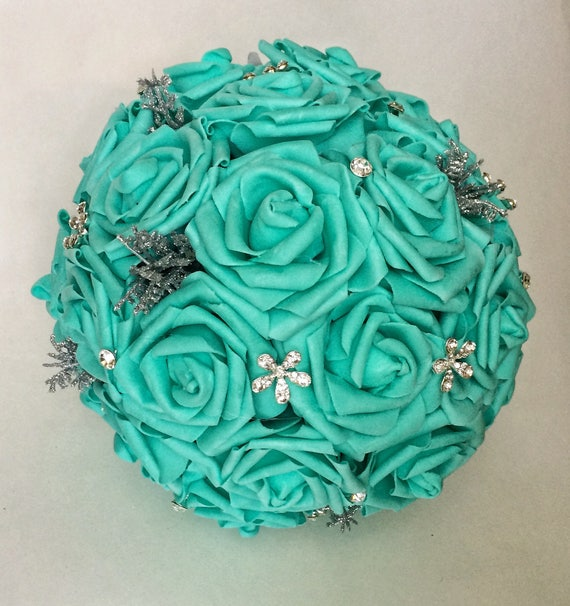 Quinceanera bouquet robin\'s egg blue roses faux flower