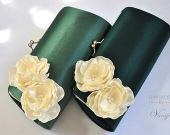 GREEN and IVORY- Green Wedding - Bridal Clutch / Bridesmaid clutch / Prom clutch / Custom Clutch