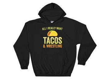 Tacos and Wrestling Hoodie for Wrestlers, Wrestling, Coaches Gift, Tacos, Grappling, Singlet Sweatshirt