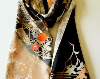 Japanese silk kimono scarf | 147 | Hand made from vintage kimono fabrics