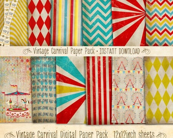 Vintage Carnival Paper Pack 12 Digital Sheets - INSTANT DOWNLOAD - Scrapbooking Card Making Birthday Party Decoration by Sassaby Parties