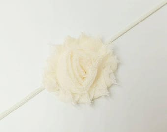 baby headband, shabby flower headband, flower headband, baby felower headband, infant headband, shabby flower, Peachy shabby flower