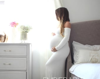 Long sleeve Maternity gown photo shoot baby shower dress maternity gown *