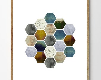 Honeycomb no.2 - Scandinavian Print, Minimalist Art, Geometric Poster, Abstract Art, Home Decor