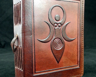 Wicca Pagan Triple Moon GODDESS - Handmade Leather Journal Diary Book of Shadows
