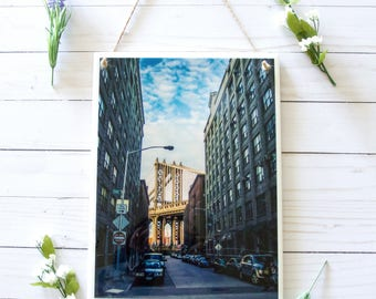 New York City tile signs, ceramic tile wall art, tile wall hanging, Manhattan Bridge wall decor, ceramic signs, wall signs for home, NYC art