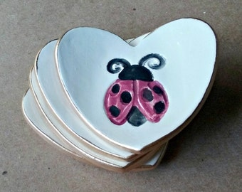 FOUR Ceramic Heart ring bowls ring dish With Gold Edge  Baby shower 2  1/2 inches  itty bitty ladybug