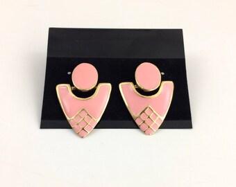 Jahrgang Pfirsich-rosa und Gold geometrische Ohrringe