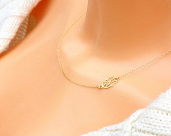 Hamsa Star of david jewelry - star of david necklace gold - Hamsa necklace gold - Gold star of david Hamsa