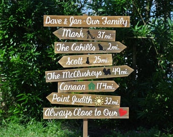 Our Family Rustic Directional Location Sign, Beach House/ Yard/ Garden Decor, Unique Parents gift idea, Gift for mom.