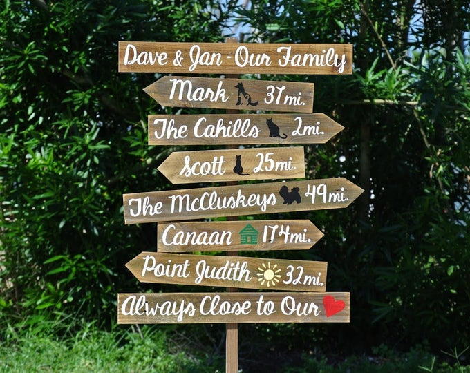 Our Family Rustic Directional Location Sign, Beach House/ Yard/ Garden Decor, Unique Parents gift idea.