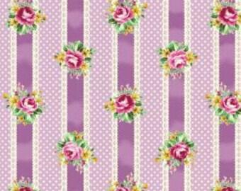 Quiltgate Ruru Bouquet Tea Party Stripe Lavender Purple (Half metre)