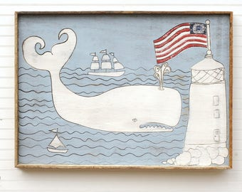 Whale with Lighthouse Coastal Decor Rustic White Whale Art Folk Whale Wooden Framed Whale Reclaimed Wood Frame