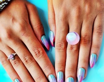 Unibré Press On Nails (rainbow nails, chrome, ombre, press ons. glue on nails, fake nails, false nails, unicorn, pink, holographic)