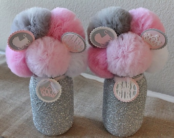 Pink & Gray Baby Shower Decorations, Baby Shower Centerpieces