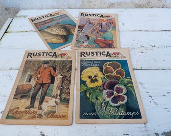Vintage RUSTICA August 1948 French Country life Issues set of 4