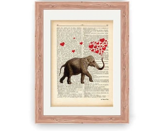Indian elephant with red hearts print-elephant dictionary print-elephant print-elephant on book page-funny animal print-NATURA PICTA-DP155