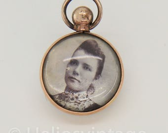Vintage silver mourning pendant with a lock of hair and a portrait, mourning jewelry, photo locket, memoriam jewelry, free shipping