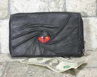 Wallet Woman Clutch With Monster Face Double Zippered Organizer Black Leather  233