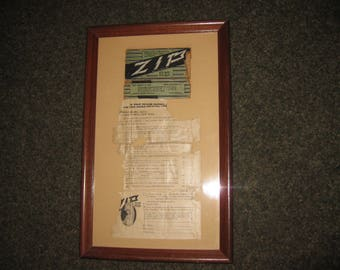 "ANTIQUE ADVERTISING Zip Hair Remover 1920's Framed Ad 9"" x 14 3/4"" Was Professionally Framed"