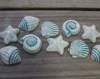Mosaic Tiles - 20 Ceramic Sea Shells - Mosaic Supplies - Mosaic Pieces - Item # E-1147 - Beach Decor - Handmade Tesserae -  Turquoise Color