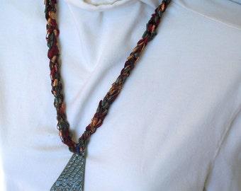 Dark Jewel-Tone Textile Necklace with Gray Ceramic Pendant - Fiber Jewelry all hand made