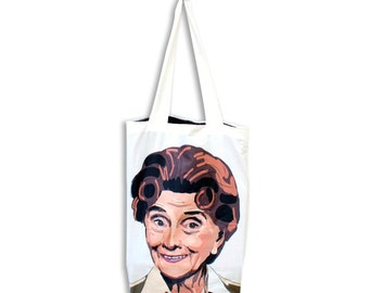Dot Cotton Tote bag with dotty lining. Strong, handmade, and exclusive to ThatAgnes!