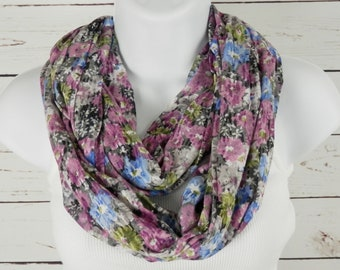 Floral Infinity Scarf, Orchid Purple, Cornflower Blue, Multi Color Flower Print Scarf, Watercolor Look, Super Soft Burnout Jersey Knit Scarf