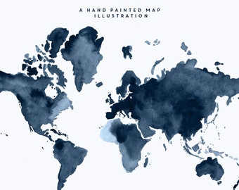 Hand Painted Watercolour Map - Navy