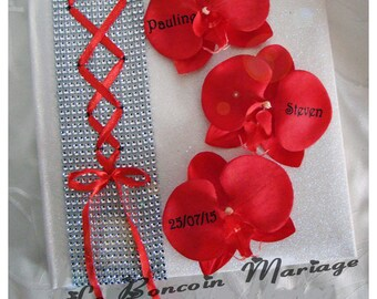 Wedding guestbook red and white corset, rhinestone and Orchid color choice to customize