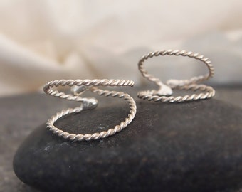 Friendship Double Silver Rope Ring Adjustable Two Rings