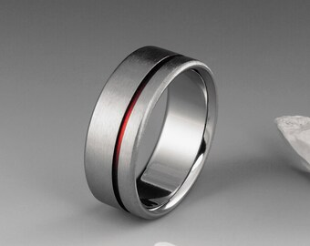 Red Titanium Ring, Red String of Fate, Titanium Band, Mens Ring, Womens Ring, Titanium Wedding Band, Promise Ring, Engagement Ring, Red Band