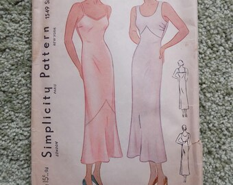 Simplicity Pattern, Lingerie, Under Garments, Unprinted, Size 34,  WWII  Era