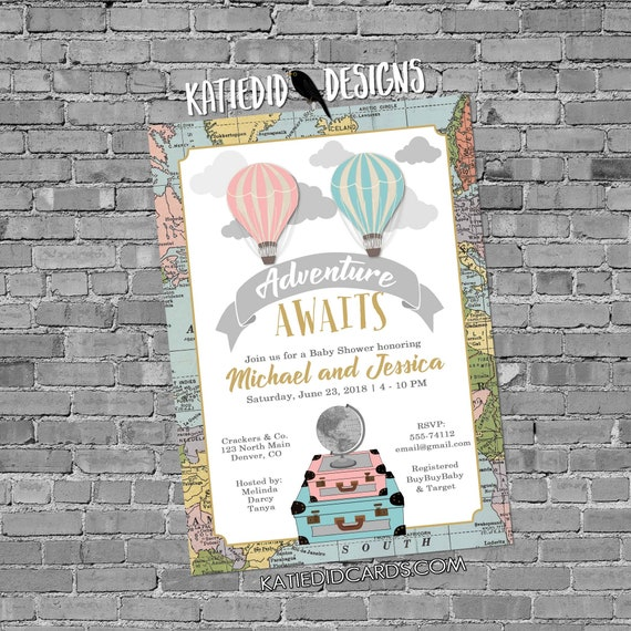 Adventure awaits Hot air balloon gender reveal invitation Travel theme baby shower World map neutral oh the places greatest | 1484 Katiedid