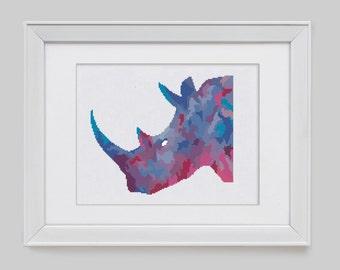 Rhino cross stitch pattern, modern rhino counted cross stitch pattern, modern rhino counted cross stitch, rhino cross stitch pdf pattern