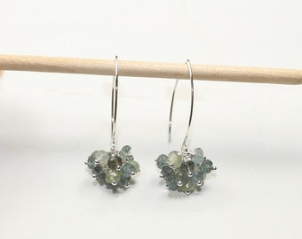 Moss Aquamarine Earrings, Moss Aquamarine Jewelry, Cluster Gemstone Earrings, March Birthstone