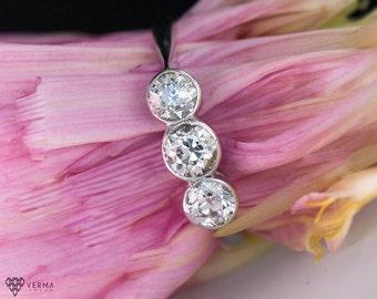 Hold 3 Stone Antique Diamond Wedding Ring .85cttw ATL #202