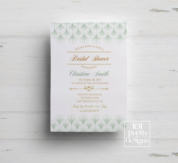 Mint art deco bridal shower invitation printable shower filmwisefo