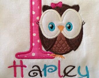 Owl First Birthday Shirt or Bodysuit Girls Personalized
