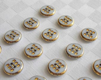 24  beautiful 2-hole opaque white glass buttons with very  fine golden trim - (15.5 mm - 5/8 in.)