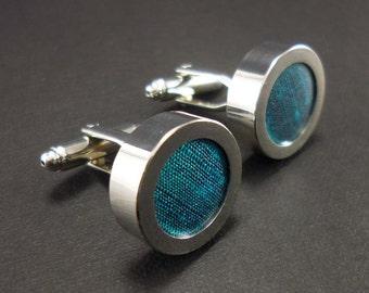 Teal cufflinks – blue green silk anniversary gift for men - 4th or 12th anniversary present – mans cuff links – silk cufflinks for weddings