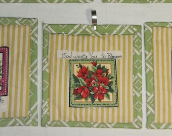 "3 Quilted Wall Hangings Florals ""God wants you to blossom"""